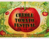 French Market New Orleans Creole Tomato Festival 2014 official poster Artist Proof signed by artist