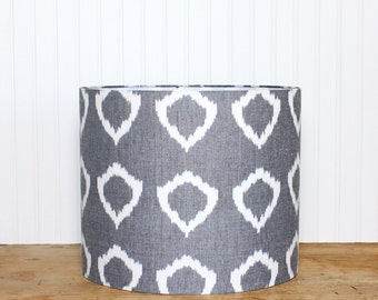 Lamp Shade Lampshade Drum Pendant Modern Nora Grey Ikat Circle Hand Woven Made to Order