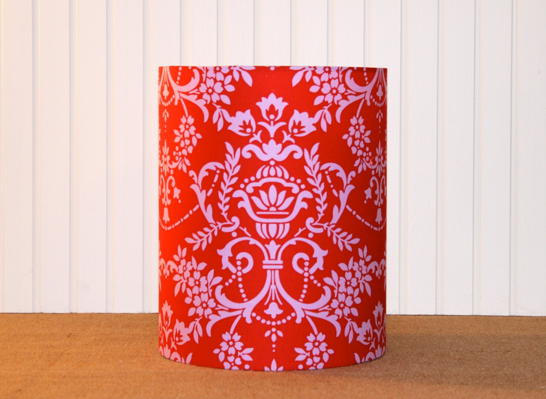 drum lamp shade lampshades red damask jennifer paganelli. Black Bedroom Furniture Sets. Home Design Ideas