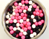 Minnie Mouse Pink/Black and white  Pearl Candy Beads- Edible Cupcake Decorations (2 ounces)