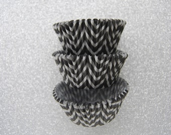 Black and SIlver Chevron ZigZag Cupcake Liners Standard Size 50 per pack