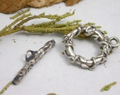 Leaf and Vine Handmade Pure Silver Toggle Clasps