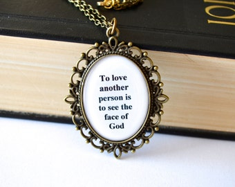 Les Miserables necklace. Love quote jewelry. Long chain. Antique bronze or silver. Religious, musical, movie inspired.