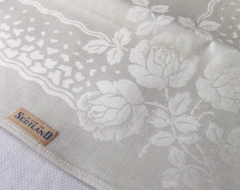 11 Large Damask Linen Napkins Made in Scotland Unused