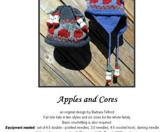 PATTERN ONLY Apple and Core Flap Hat for 6 sizes