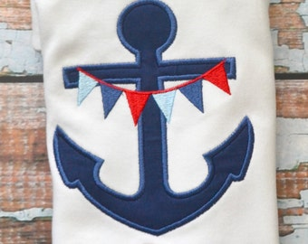 Boy Anchor Shirt, Nautical Shirt, Summer Shirt, Boys Shirt