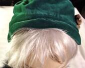 Hat 1920's Antique Genuine Velour Green Lady Hat  with Fur Pin Original  Design