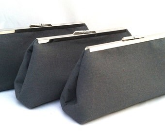 Charcoal Dark Gray Linen Handbag Clutch Wedding party Bridesmaids gift for Bride or Bridesmaids-Design your own in various colors