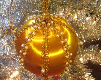Gold Beaded Sequined Holiday Ornament 60s