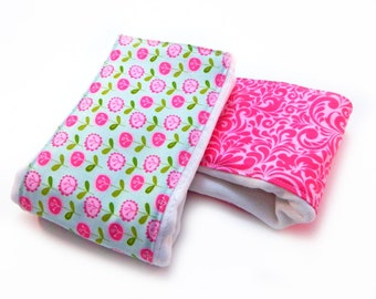 Girl Burp Cloths set of 2- Pink & Blue Flowers Burp Cloths