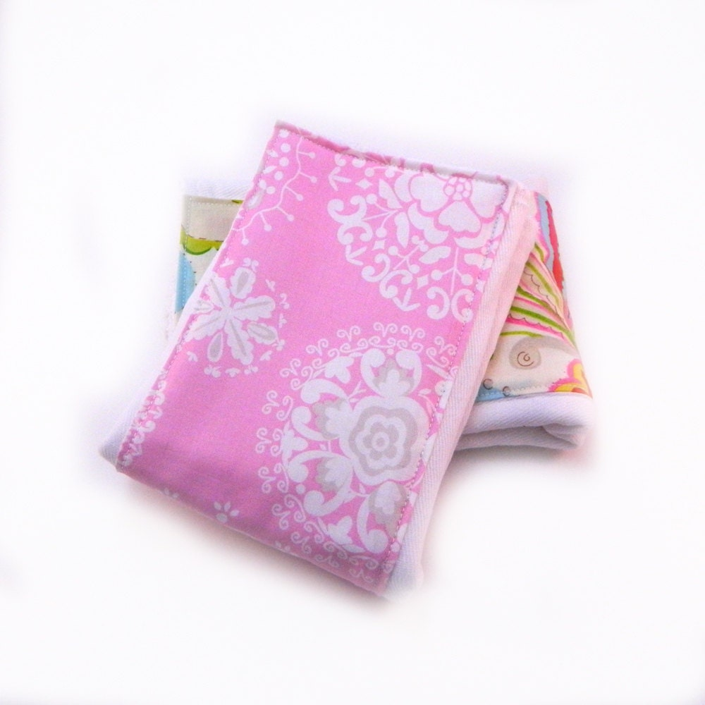 Girl Baby Burp Cloth Pink Gray White Diaper Floral