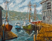 Dockside Boats Original Painting by Prankearts