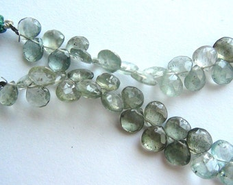 35% OFF Blue Green Moss Aquamarine faceted pear briolette