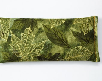 Lavender Eye Pillow - Green and Gold Woodland Leaves - Forest Wedding Gift - Cold Compress - Relaxation Meditation