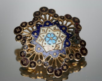Vintage Gold Tone Metal and Enamel Brooch