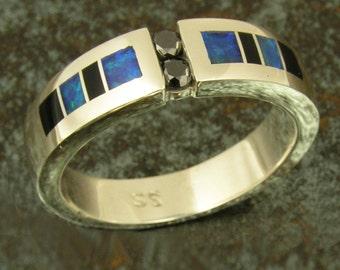 Australian Opal Wedding Ring with Black Diamonds and Onyx, Opal Wedding Band with Black Diamonds, Black Diamond Wedding Ring