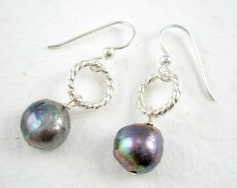 Navy Blue Pearls Dangle from Twisted Wire Earrings