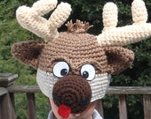 Reindeer hat - teen to adult - cute and unique handmade character hat made to look like reindeer named Sven from frozen