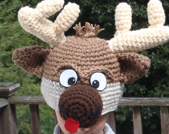 Reindeer hat - 6-9 month old  - cute and unique handmade character hat made to look like reindeer