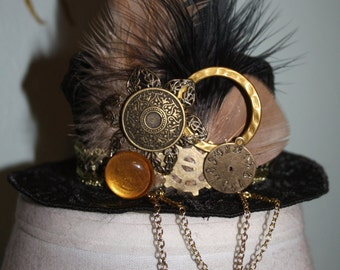 Black Gold Mini Steampunk Top Hat