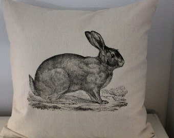 Vintage Rabbit Linen Pillow Cover - Select Your Size and Color - Decorative Pillows
