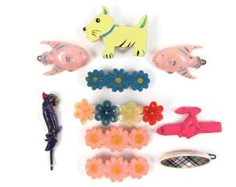 Happy Hair - Lot of 10 Vintage 1950s-70s Barrettes, Scottie Dog, Fish, Parrot, Rabbit, Flowers, Plaid, Fun Mix of Hair Clips