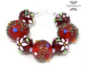 Czech Lampwork Glass Beads (7), Cherry Red, Flower, White, Lime Green
