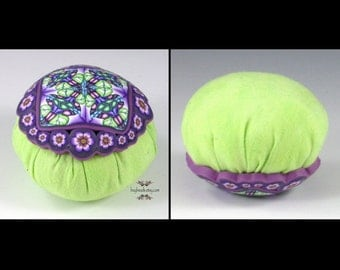 Polymer Clay Pincushion, Handmade, Lime Green, Purple