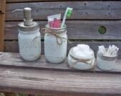 Painted Mason Jar Bathroom Set. Painted and distressed mason jars