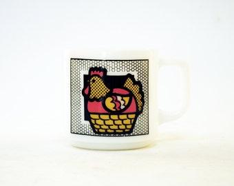 Graphic Hen Milk Glass Mug