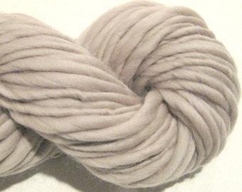 Handspun Yarn Solid Pewter 80 yds merino wool waldorf doll hair knitting supplies bulky thick and thin yarn