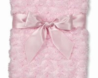 Personalized Swirly Pink Minky Baby Blanket
