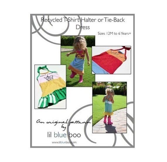 DIY Tutorial PDF Pattern - Recycled T-Shirt Halter/Tie-back Dress - Sizes 12M to 6 Years (plus)