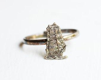 Sailboat Ring, Ship Ring, Nautical Ring, Silver and Gold