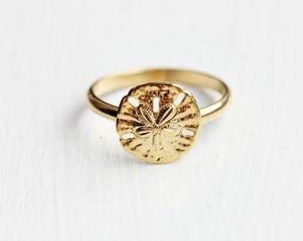 Sand Dollar Ring, Small Sand Dollar Ring, Gold Sand Dollar Ring, Gold Ring, Round Gold Ring, Gold Circle Ring, Beach Ring, Adjustable Ring