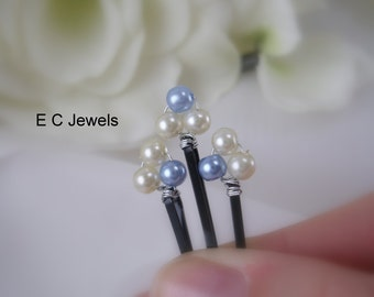 Just a hint of Blue Pearl Hairpins