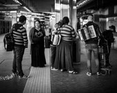 Street Performers Fine Art Photography Black and White large wall art Home decor Gypsy Romani family Rome train station street photography