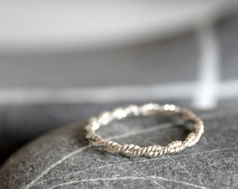 Twisted and Braided Sterling Silver Ring - stackable - Made To Order