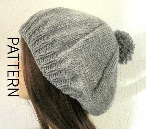 Womens Pom Pom Hat  Beret Instant Download Knitting  pattern  Hat Knitting  Digital PATTERN PDF  Beanie Pattern   Intermediate DIY