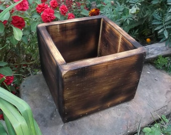 Rustic Wedding Centerpiece - Wood Gift Box - Planter