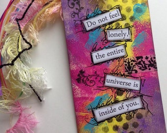 HUGE SALE 40% OFF / Mixed Media Art Tag Bookmark // Don't feel lonely