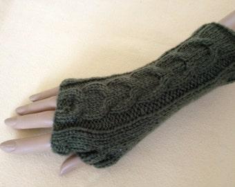 Luxury Hand Knitted Soft Merino Wool Fingerless Gloves/Mittens Arm Wrist Warmers, Holly Green