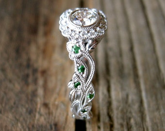 Diamond Engagement Ring in 14K White Gold with Tsavorite Gems in Flowers & Leafs on Vine Motif Size 6