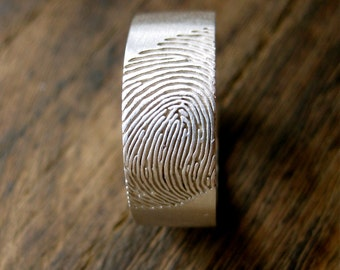 Wide Finger Print Wedding Ring in Sterling Silver with Custom Hand Written Quote Engraving & Matte Finish Size 10