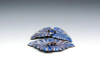Enameled Ivy Leaf / Nitric Blue enamel / Made to order