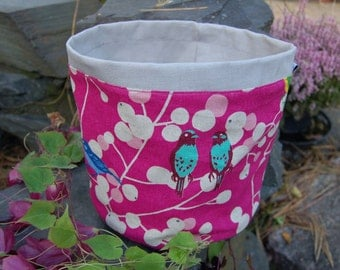 Japanese pink linen basket, berries, birds, from Finland