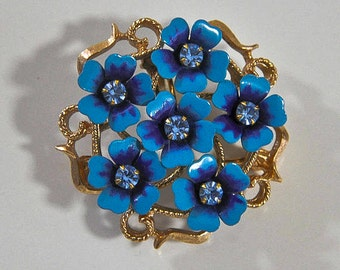 1970s Avon Love Blossoms Pansy Forget Me Knots Flower Vintage Pin Brooch Pendant