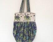 Puffy bag slouch hobo tote shoulder bag Indian cotton elephants lined handmade