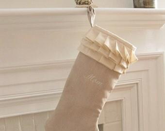 Personalized Linen Christmas Stocking Ivory Ruffle White Monogram