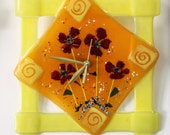 Fused glass Wall Clock -  yellow , orange , red flowers  Design Wall clock  -  Summer  tons - glass art.